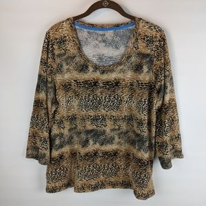 Rafaella Shirt Plus Size 2X Animal Print Pullover